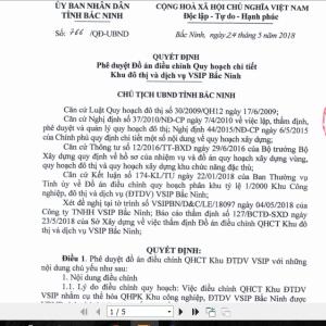 Quy hoạch khu đô thị dịch vụ Vsip Bắc Ninh - Quyết định số 766/QĐ - UBND tỉnh Bắc Ninh